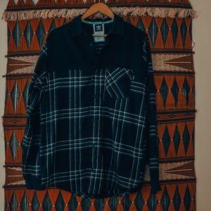 Adidas mens black flannel button down medium